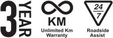 3 Year Unlimited Km Warranty, 24/7 Roadside Assist