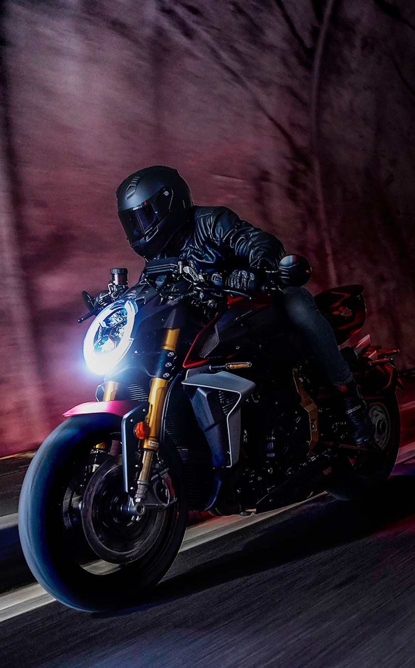 mv agusta brutale 1000 motorcycle riding through a dark tunnel for mobile devices
